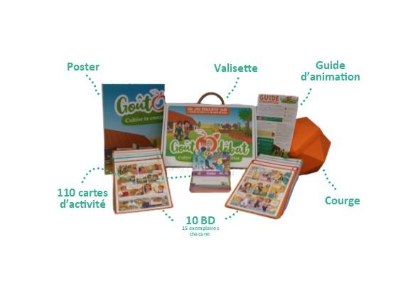 Contenus de la boîte du jeu éducatif GoûtOdébat pour le cycle 3 (le lien entre agriculture et alimentation)